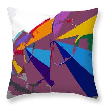 Beach Umbrella Row Throw Pillow by David Lee Thompson