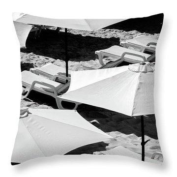 Beach Umbrellas Throw Pillow by Marion McCristall