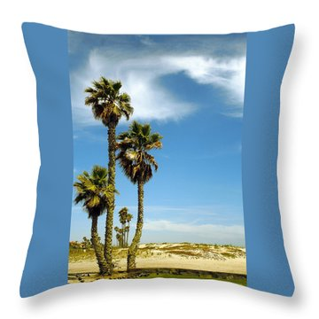 Beach View With Palms And Birds Throw Pillow by Ben and Raisa Gertsberg