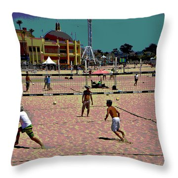Beach Volleyball Throw Pillow by Tom Kelly
