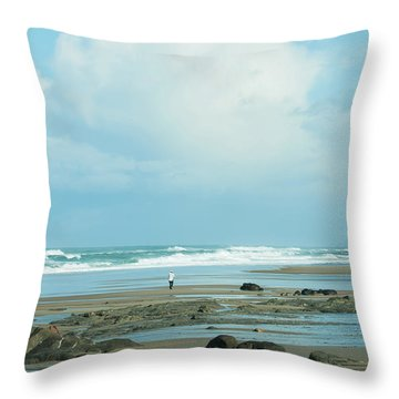Throw Pillow featuring the photograph Beach Walk by Mary Jo Allen
