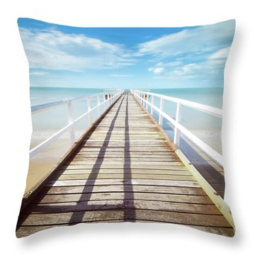 Throw Pillow featuring the photograph Beach Walk by MGL Meiklejohn Graphics Licensing