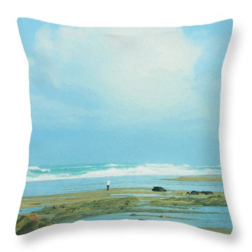 Throw Pillow featuring the photograph Beach Walk Painted by Mary Jo Allen