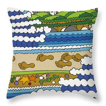 Beach Walk Foot Prints Throw Pillow by Rojax Art