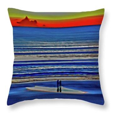 Beach Walking At Sunrise Throw Pillow