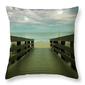 Bridge To Beach Throw Pillow