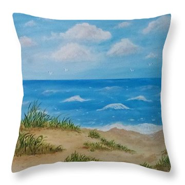 Throw Pillow featuring the painting Beach Waves by Sonya Nancy Capling-Bacle