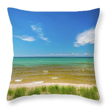 Beach With Blue Skies And Cloud Throw Pillow