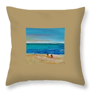 Throw Pillow featuring the painting Beach2 by Diana Bursztein