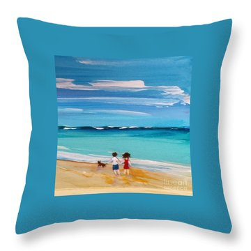 Throw Pillow featuring the painting Beach3 by Diana Bursztein