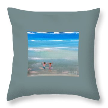 Throw Pillow featuring the painting Beach4 by Diana Bursztein