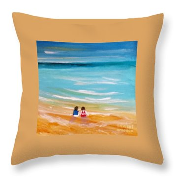 Throw Pillow featuring the painting Beach5 by Diana Bursztein