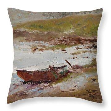 Beached Throw Pillow by Barbara Andolsek