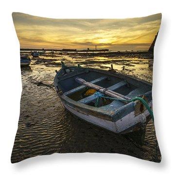 Beached Boat On La Caleta Cadiz Spain Throw Pillow