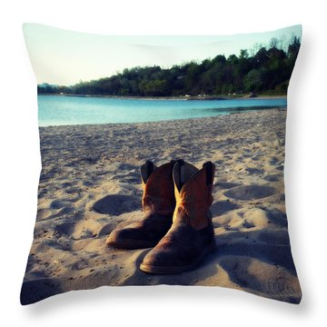 Beached Boots Throw Pillow