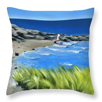 Beached Buoy Throw Pillow