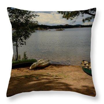 Beached Canoe Throw Pillow