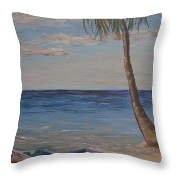 Throw Pillow featuring the painting Beached by Debbie Baker