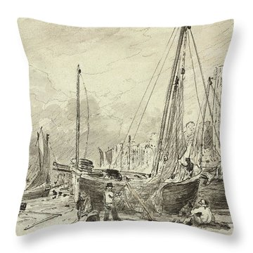 Beached Fishing Boats With Fishermen Mending Nets On The Beach At Brighton, Looking West Throw Pillow