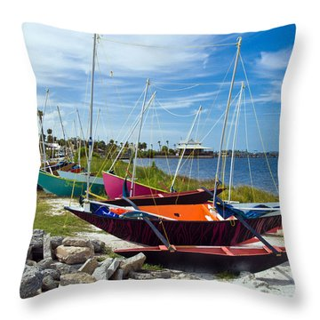 Beached In Sebastian Florida Throw Pillow by Allan  Hughes