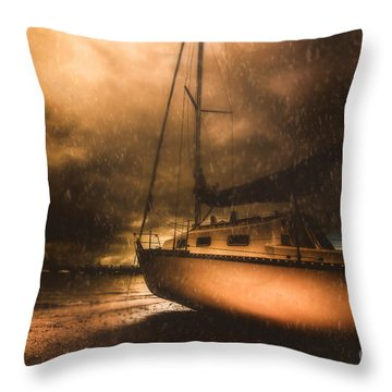 Throw Pillow featuring the photograph Beached Sailing Boat by Jorgo Photography - Wall Art Gallery
