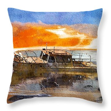 Throw Pillow featuring the painting Beached Wreck by Mark Taylor