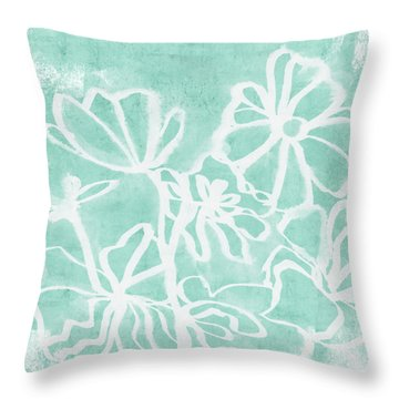 Throw Pillow featuring the mixed media Beachglass And White Flowers 2- Art By Linda Woods by Linda Woods