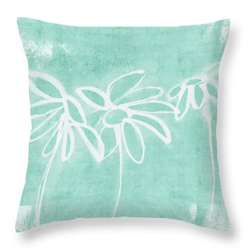 Throw Pillow featuring the mixed media Beachglass And White Flowers 3- Art By Linda Woods by Linda Woods
