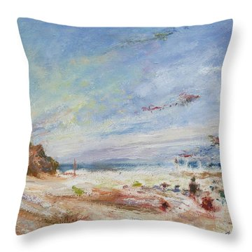 Beachy Day - Impressionist Painting - Original Contemporary Throw Pillow