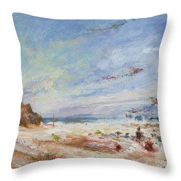 Beachy Day - Impressionist Painting - Original Contemporary Throw Pillow