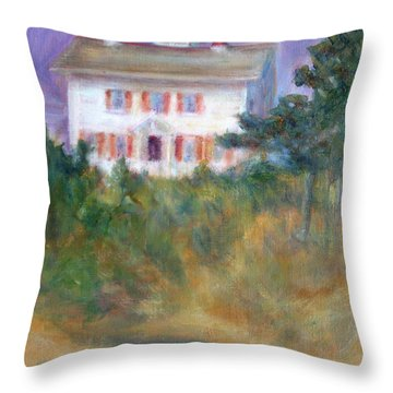 Beacon On The Hill - Lighthouse Painting Throw Pillow by Quin Sweetman