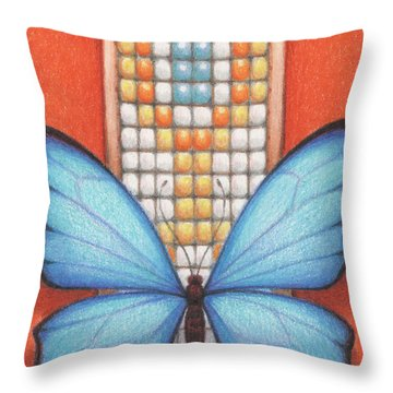 Beaded Morpho Throw Pillow by Amy S Turner