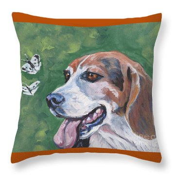 Throw Pillow featuring the painting Beagle And Butterflies by Lee Ann Shepard