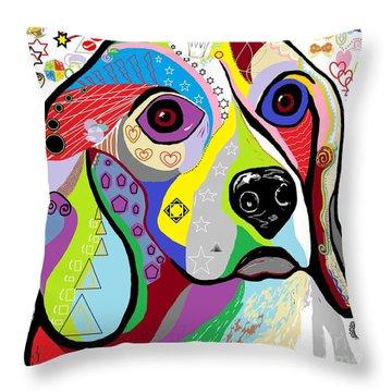 Beagle Throw Pillow by Eloise Schneider