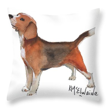 Beagle Watercolor Painting By Kmcelwaine Throw Pillow