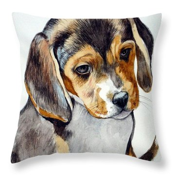 Beagle Puppy Throw Pillow