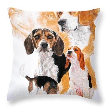 Beagle Hound Medley Throw Pillow