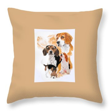Beagle W/ghost Throw Pillow by Barbara Keith