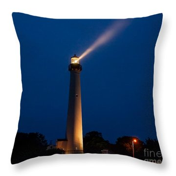 Throw Pillow featuring the photograph Beam Of Light At Cape May by Nick Zelinsky