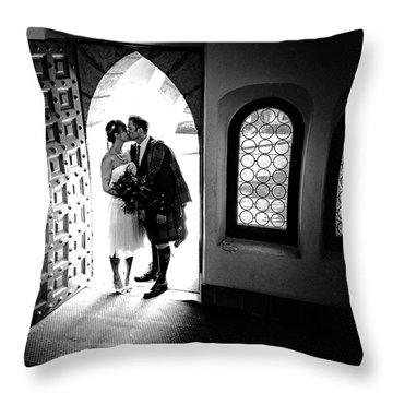 Beaming Newlyweds Throw Pillow