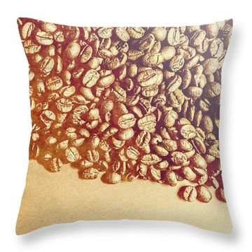 Bean Background With Coffee Space Throw Pillow