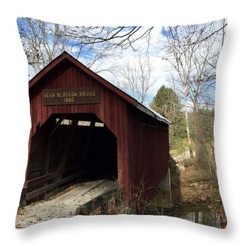 Bean Blossom Bridge, 1880 Throw Pillow by Russell Keating