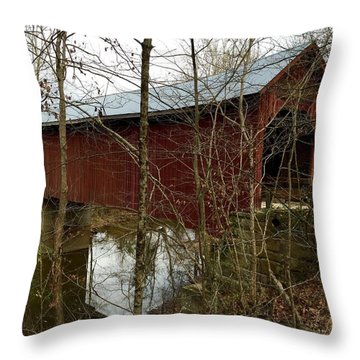 Bean Blossom Bridge Throw Pillow by Russell Keating