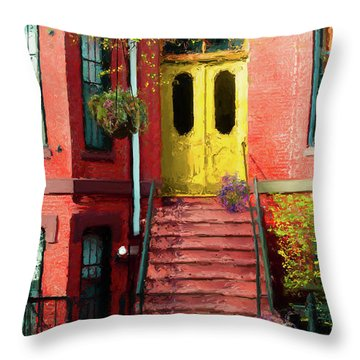 Beantown Brownstone With Yellow Doors Throw Pillow