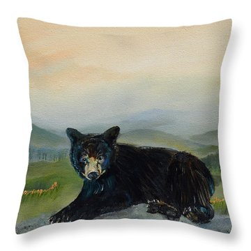 Bear Alone On Blue Ridge Mountain Throw Pillow