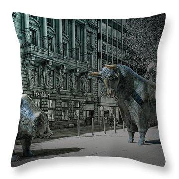 bear and bull Frankfurt Throw Pillow by Joachim G Pinkawa