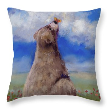 Throw Pillow featuring the pastel Bear And Butterfly by Billie Colson