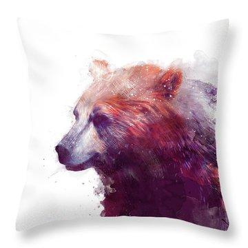 Bear // Calm - Right // White Background Throw Pillow