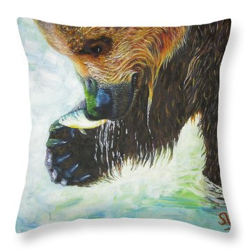 Bear Fishing Throw Pillow