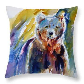 Throw Pillow featuring the painting Bear From The Woods by P Maure Bausch